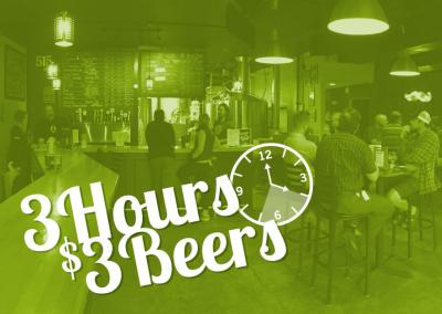 3 Hours | $3 Beers